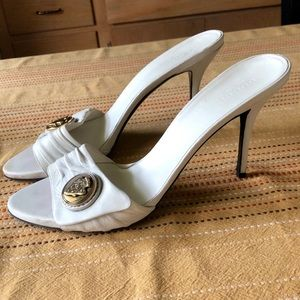 Gucci Hysteria White Leather Heeled Slides Sz. 9.5